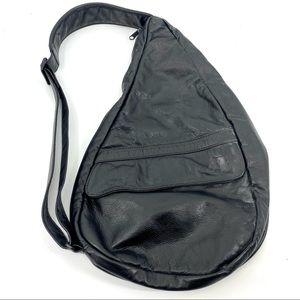 Ameribag healthy back black leather sling backpack